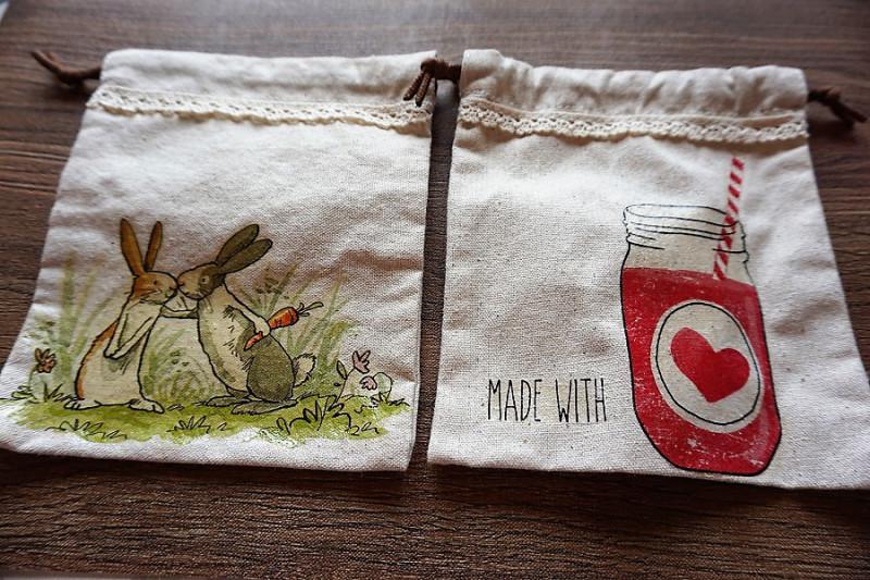 ナチュラルテイストデコパージュ巾着袋の画像